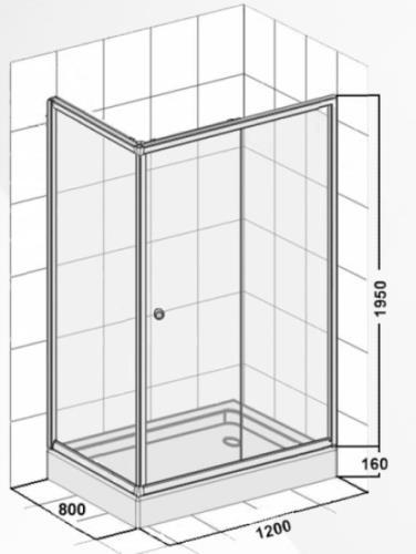 duschkabine mit seitenwand und schiebet r 800x1200x1950 mm. Black Bedroom Furniture Sets. Home Design Ideas