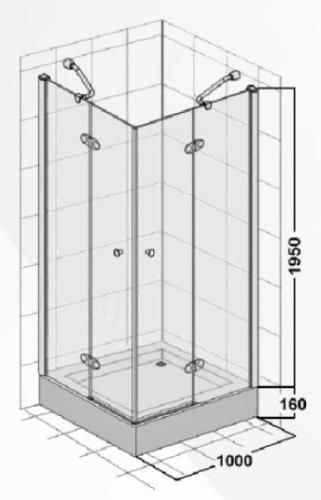 duschkabine mit eckeinstieg und dreht r 1000x1000x1950 mm. Black Bedroom Furniture Sets. Home Design Ideas