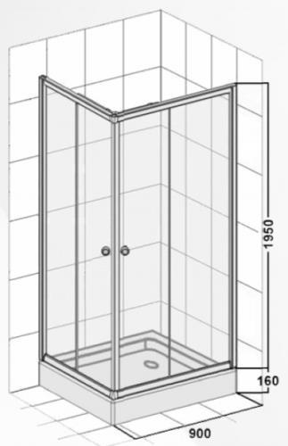 duschkabine mit eckeinstieg und schiebet ren 900x900x1950 mm. Black Bedroom Furniture Sets. Home Design Ideas